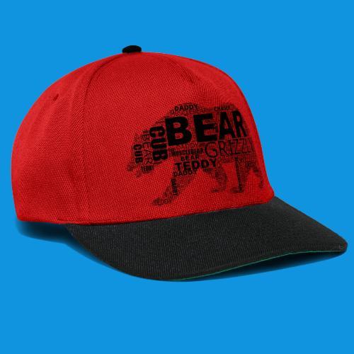 Bear Word Cloud black text - Snapback Cap