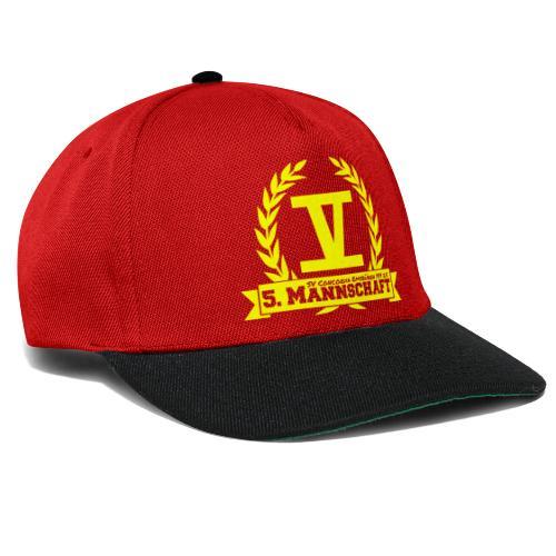 V mit College-Schriftzug - Gelb - Snapback Cap