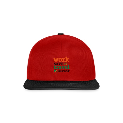 Work - Save - Travel - Repeat - Snapback cap