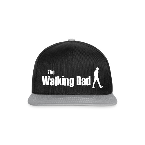 the walking dad white text on black - Snapback Cap
