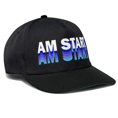 am Start - blau weiß faded - Snapback Cap