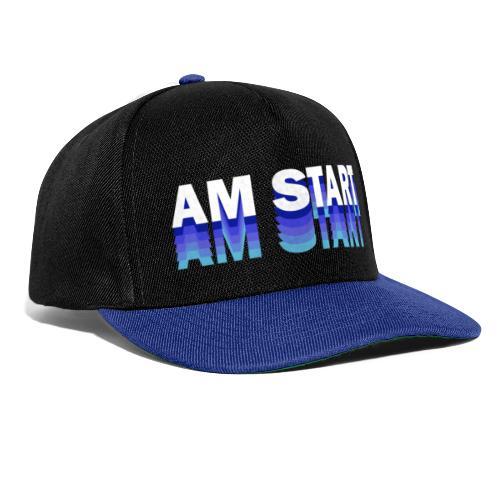 am Start - blau weiß faded - Snapback Cap