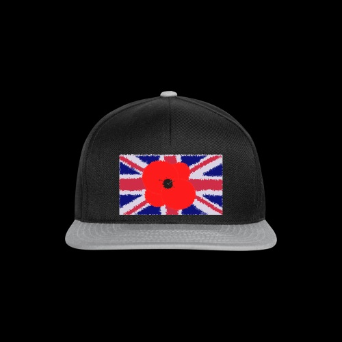 Poppy flower over Union Jack Flag - Gorra Snapback