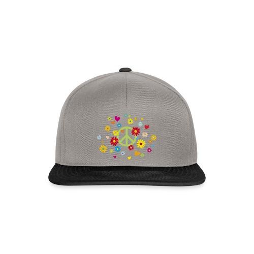 Peacezeichen Blumen Herz flower power Valentinstag - Snapback Cap
