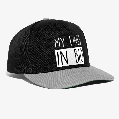 my links in bio white - Snapback Cap