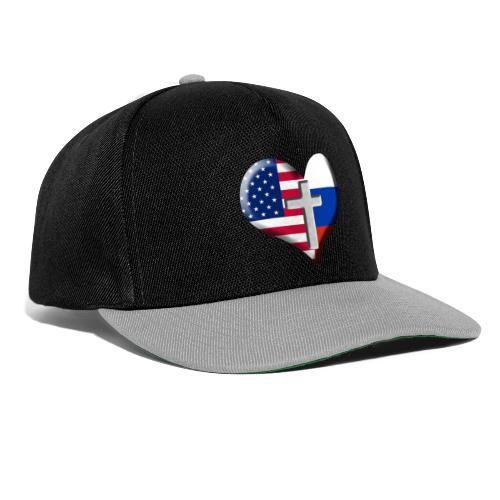 USA and Russia Heart with Cross - Snapback Cap