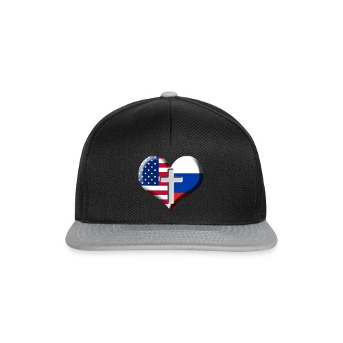 USA and Russia Heart with Cross - Snapback-caps