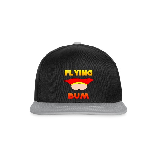 Flying Bum (face on) with text - Snapback Cap