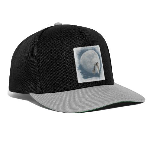 Flying owl full moon watercolor photo art - Snapback Cap