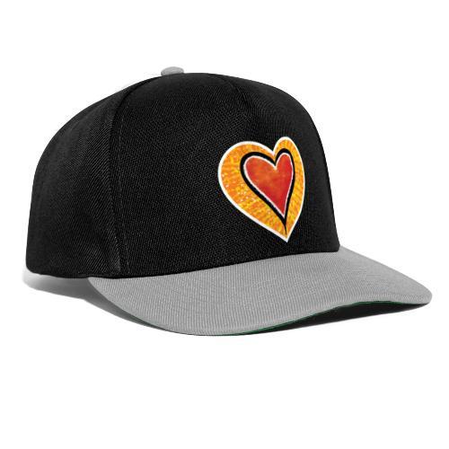 Red heart under Fire - Snapback Cap