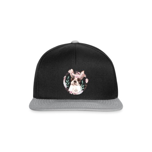 French Bully Flowers - Französische Bulldogge - Snapback Cap