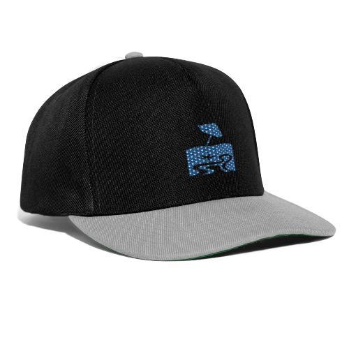 Blue circle pattern beach silhouette - Snapback Cap