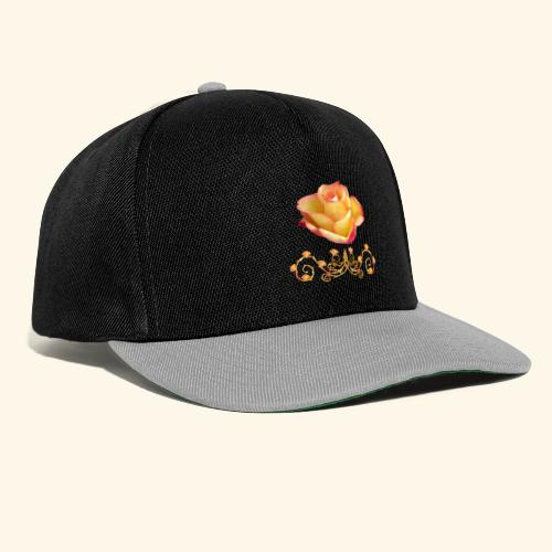 orange Rose, Ornament, Rosen, Blumen, Blüten, edel - Snapback Cap