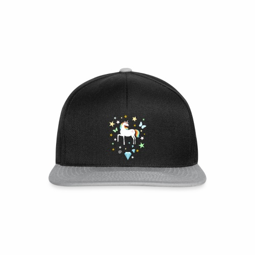 Einhorn Diamant Stern Techno Rave Electronic Music - Snapback Cap