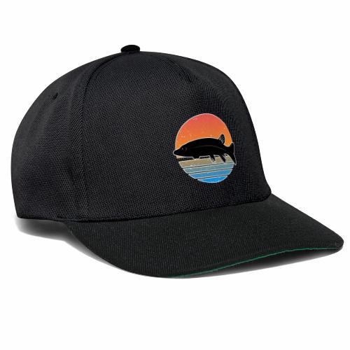 Retro Hecht Angeln Fisch Wurm Raubfisch Shirt - Snapback Cap