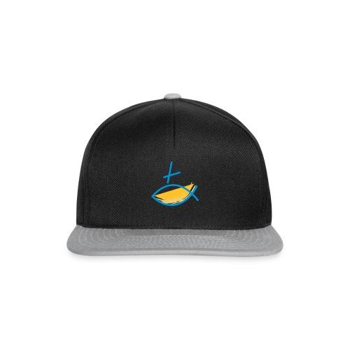 Altkatholischer Logo Fisch Blau/Gelb - Snapback Cap