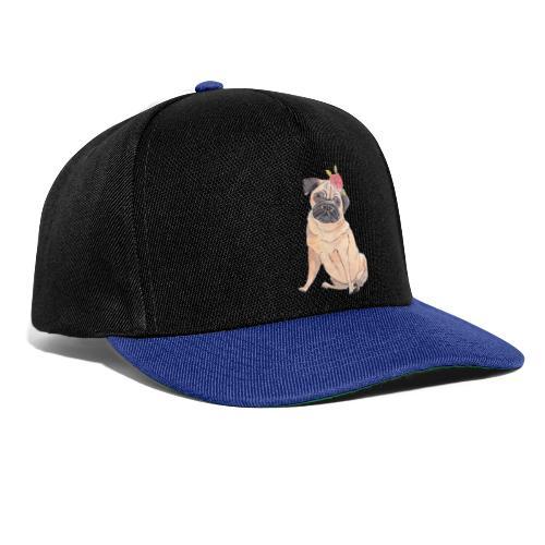 Pug with flower - Snapback Cap