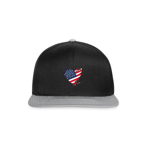 USA Amerika Sterne und Streifen Herz Grunge Flagge - Snapback Cap