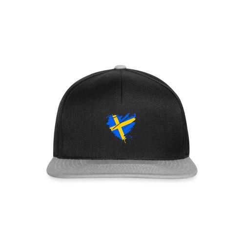 Schweden Skandinavien Europa Fahne Grunge Herz - Snapback Cap