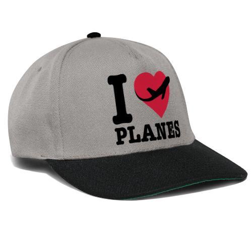 Rakastan lentokoneita - mustaa - Snapback Cap