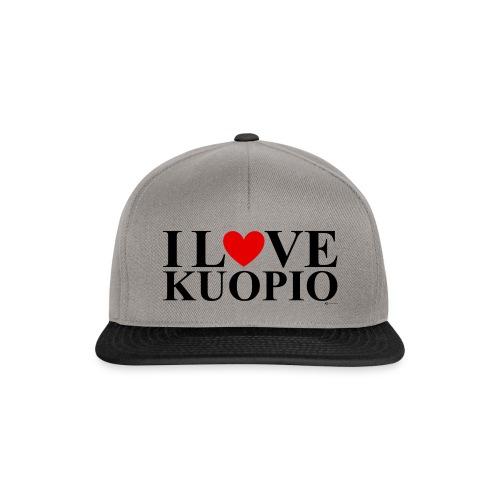 I LOVE KUOPIO (koko teksti, musta) - Snapback Cap