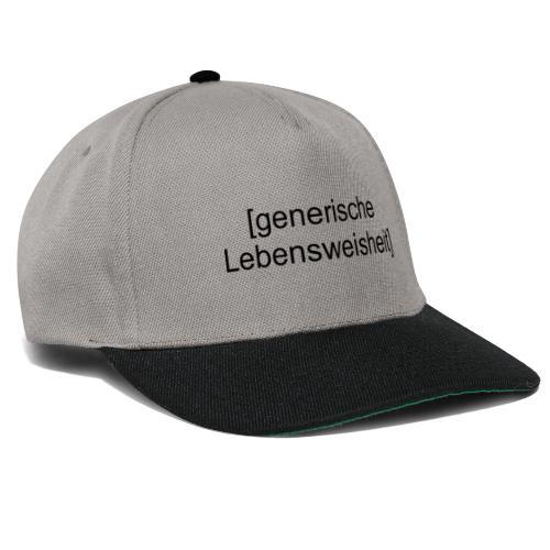 Generische Lebensweisheit (schwarz) - Snapback Cap