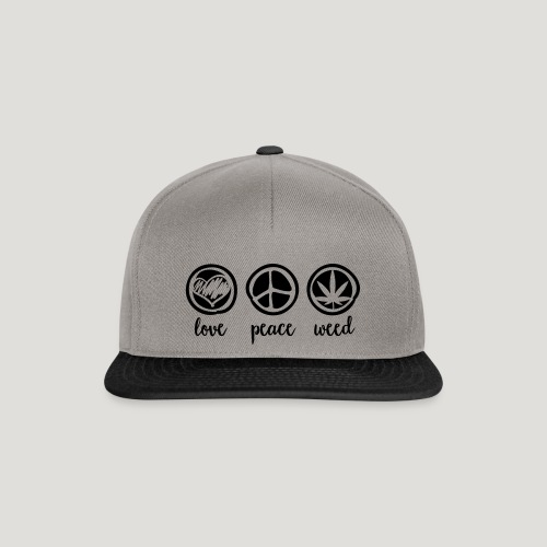 Cannabis Love and Peace and Weed Marihuana Dope - Snapback Cap