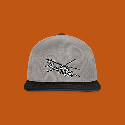 Hubschrauber / Helikopter 01_schwarz weiß - Snapback Cap