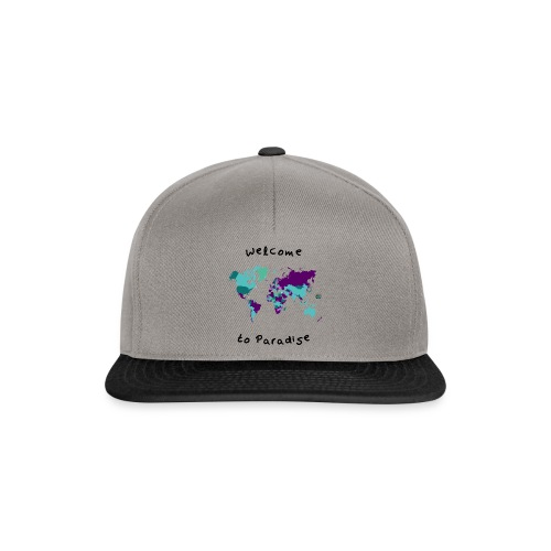 Weltkarten Design mit Welcome to Paradis - Snapback Cap