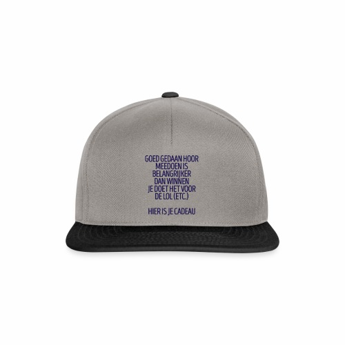 Meedoen is belangrijker dan winnen - fun gift - Snapback cap