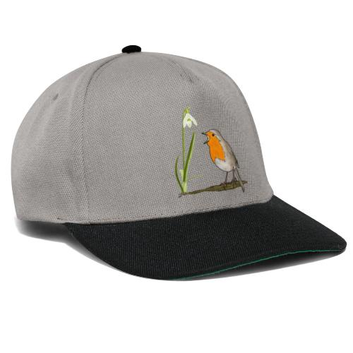 Frühling, Rotkehlchen, Schneeglöckchen - Snapback Cap