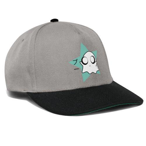 Kawaii Cute Ghost / Boo in Japanese / blue star - Snapback Cap