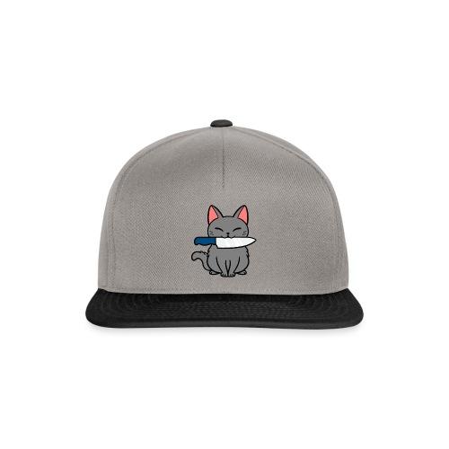 Fröhliche Katze mit Messer - Snapback Cap