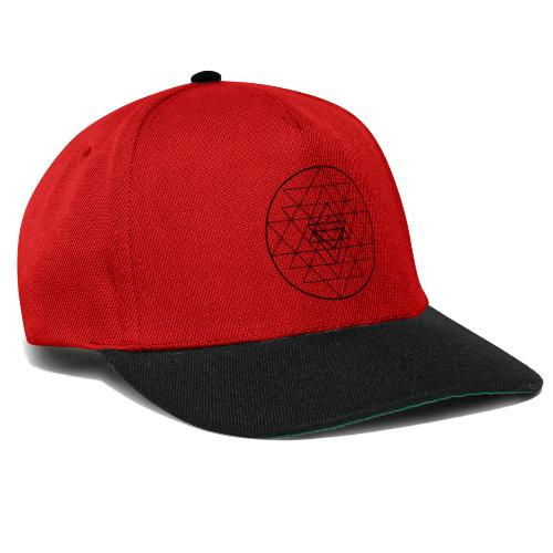 Sri Yantra - black and white - Snapback Cap