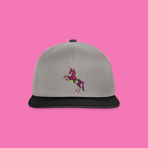 Floral Unicorn Silhouette - Snapback Cap