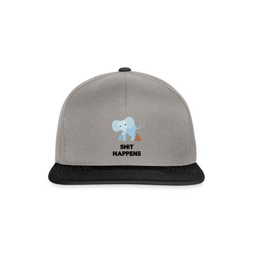 olifant met drol shit happens poep schaamte - Snapback cap