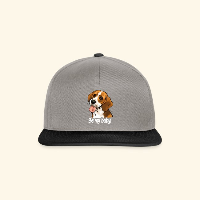 """Chien beagle """"Be my baby"""" (texte blanc)"""
