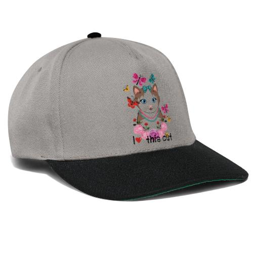 i love this cat - Snapback cap