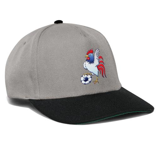 Rooster Posing and Stepping on a Foot Ball - Snapback Cap