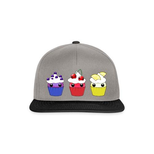three kawaii cupcakes blueberry cherry lemon - Snapback Cap