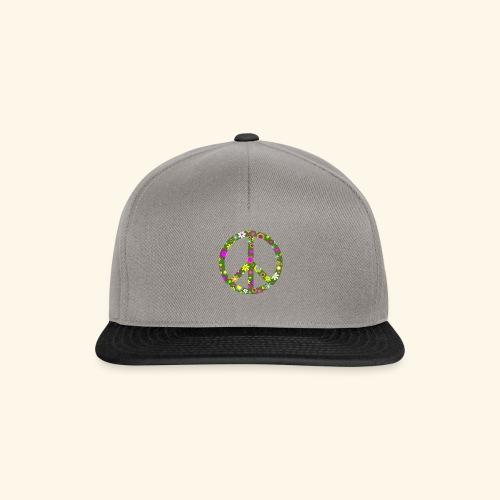 Peace Zeichen mit Blümchen - Snapback Cap