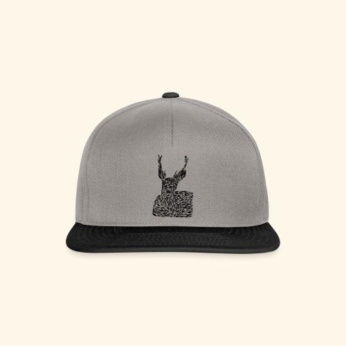 deer black and white - Snapback Cap