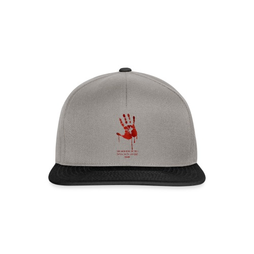 bloody hand diagonal with quote - Snapback Cap