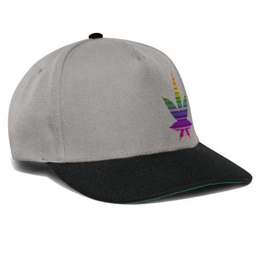 Weedblatt Design mit farbenfrohem Hintergrund - Snapback Cap