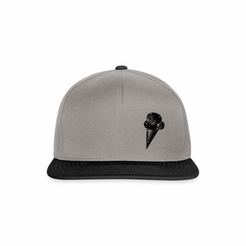 Ice Cream Graphic in black and white - Snapback Cap