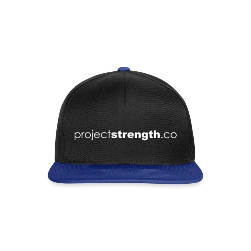 projectstrength.co - plain logo - white - Snapback Cap