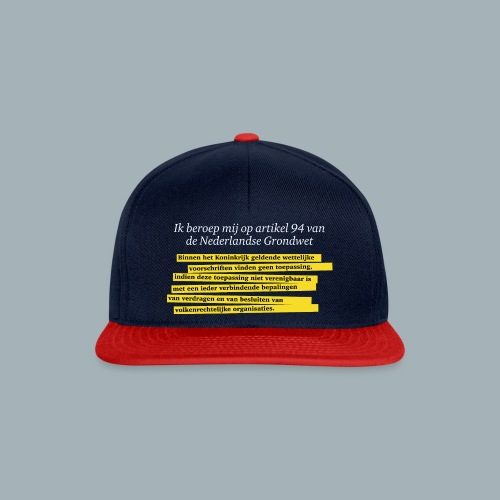 Nederlandse Grondwet T-Shirt - Artikel 94 - Snapback cap