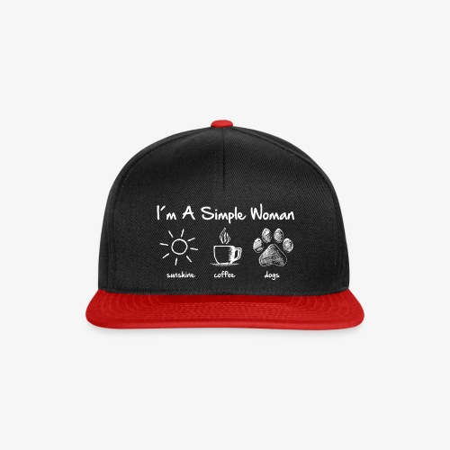 simple woman dog white - Snapback Cap