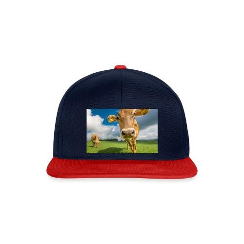 cow switzerland pasture green meadow clouds - Snapback Cap