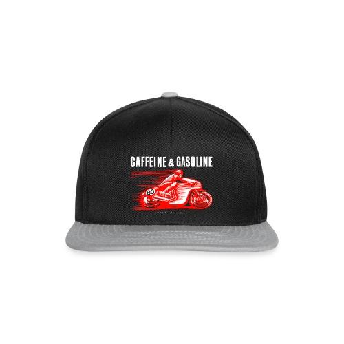 Caffeine & Gasoline white text - Snapback Cap